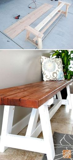 15 DIY Entryway Bench Projects • Tons of Ideas and Tutorials! Including, from 'home depot', a great step by step tutorial on how to build this farmhouse bench. by Damian Pelser