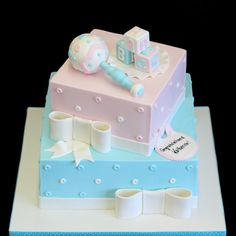 pinky blue square baby girl cakes, baby shower cakes for boys, baby shower themes Baby Shower Cake Designs, Baby Shower Cakes For Boys, Baby Boy Cakes, Boy Baby Shower Themes, Girl Cakes, Baby Shower Decorations, Bebe Shower, Baby Shower Niño, Baby Shower Balloons
