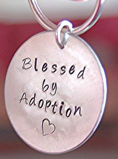 Adoption keychain, Hand Stamped Keychain, Personalized Key ring Custom keychain, complete gift set, Adoption gift, Adoption homecoming