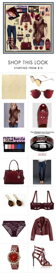 """Maroon & Metallics"" by aurorasblueheaven ❤ liked on Polyvore featuring Bonnie Clyde, Simply Aster, Truffle, MKF Collection, Gap, Fleur of England, ELSE, Anne Klein and Cecelia New York"