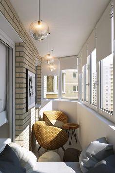 дизайн балкон с зоной отдыха 6,5 кв. м.