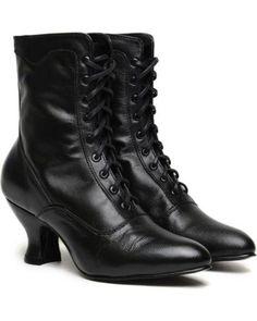 Victorian lace up boots - Oak Tree Farms Veil Kidskin Gold Rush Boots  AT vintagedancer.com