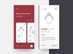 Jewelry shop ui design clean diamond product jewelry shop jewelry typography interface e commerce app layout interaction awsmd design creative ux ui Iphone Ui, Ecommerce App, Card Ui, Web Ui Design, Flat Design, Ui Design Inspiration, Design Ideas, Mobile App Ui, Mobile Design