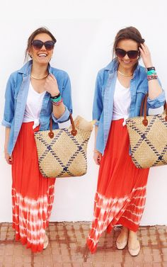 The Elgin Avenue: Look Of The Day: Tie Dye Maxi Skirt + Denim Shirt! X