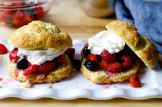 Easy Drop Berry Shortcakes (by Smitten Kitchen) - in which the description of no rolling pins and no cutters is music to my ears!