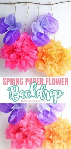 For a fun spring party make a DIY paper flower backdrop! Adorable & versatile, this can be used as wall decor too, for an extra pop of color! Flower Wall Backdrop, Diy Backdrop, Paper Flower Wall, Paper Flowers, Backdrops, Paper Folding Crafts, Diy Paper, Tissue Paper, Creative Crafts