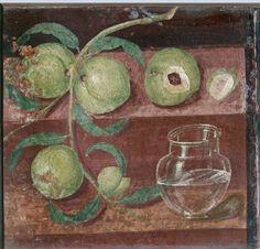 Still Life with Peaches: Roman fresco (before 79 AD) from the Casa dei Cervi…