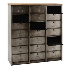 Industrial Metal Cabinet Mabillon on Maisons du Monde. Take your pick from our furniture and accessories and be inspired! Industrial Shelving, Industrial Metal, Larder, Metallica, Lockers, Locker Storage, Drawers, New Homes, Indoor