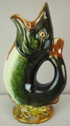 Majolica Pottery; Pitcher, Fish, 9 inch.