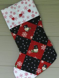Items similar to Snowman Christmas Stocking, Snowflakes, Christmas Decor, Red and Black on Etsy Quilted Table Runners Christmas, Quilted Christmas Stockings, Christmas Stocking Pattern, Xmas Stockings, Christmas Tree Themes, Christmas Angels, Christmas Snowman, Christmas Ideas, Christmas Ornaments