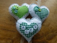Rustic green and white heart felt Christmas ornament. Gingham or polka dots, can be personalised