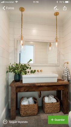 One large long sink? White Shiplap Wall, Coastal Farmhouse, Modern Coastal, Farmhouse Vanity, Coastal Style, Farmhouse Kitchens, Coastal Decor, Modern Farmhouse Powder Room, Farmhouse Furniture