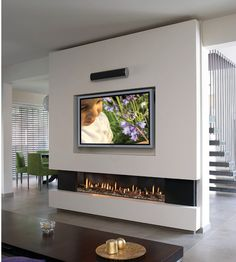 Elongated Fireplace - Family Room