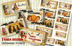 12 Vintage Halloween Tickets printable digital от TaniaDesign