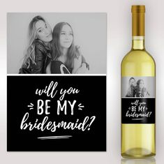 Bridesmaid Proposal - Asking Bridesmaid - Will You Be My Bridesmaid Gift - Custom Bridesmaid Wine La Will You Be My Bridesmaid Gifts, Asking Bridesmaids, Printing Press, Bridesmaid Proposal, Personalized Products, Ink Color, Digital Prints, How To Apply, Etsy