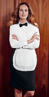 Simon Jersey NEW white lace apron £13.49 // Housekeeping apron, cleaner's apron, waitress apron, host uniform, hospitality uniform, broderie anglaise, white lace, tea apron, vintage apron. Perfect for waitresses, hostesses, front of house staff, catering, retail, cafes, coffee shops, hospitality, hotels, hoteliers, etc.