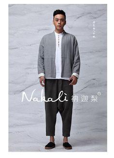 Nakali Chinese Traditional Style Mens Hanfu Zen Jacket  Coat Both Wearing Apparel Grey White Cotton Linen 2014 Winter New