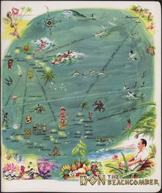 """The dinner menu for the restaurant Don the Beachcomber at the Hotel Sahara in Las Vegas, Nevada.  Doesn't this just make you wish that it was summer again?!  Part of UNLV Libraries """"Menus: The Art of Dining"""" digital collection.  #Summer #WeMissYou"""