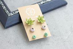 Green Succulent Ranunculus Set Wholesale Stud Earrings Small Hypoallergenic Studs Earstuds Wedding Bridal Birthday Mother Mom Mum Gifts by eteniren. Explore more products on http://eteniren.etsy.com