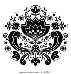 Norwegian folk art Bunad black pattern - Rosemaling style embroidery       - stock vector