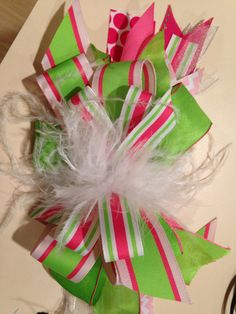 Lime+Green+Pink+and+Feather+Bow+by+MissPsAccessories+on+Etsy,+$22.50