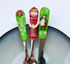Masha and the Bear Spoon Fork Knife for Children 4 to 10 years Personalized Name Unique Gift Polymer clay Green Silverware Set Mawa Kawa