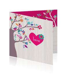 Hip geboortekaartje voor meisje met boom, hartje en hout http://mycards.nl/geboortekaartjes/meisje/geboortekaartje-meisje-hippe-boom-vrolijk-lief-bloemetjes