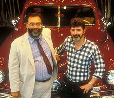 """Francis Ford Coppola and George Lucas team up again on the set of """"Tucker: The Man And His Dream"""", Francis Ford Coppola, George Lucas, Factories, Vintage Cars, The Man, Tv, Movies, Fictional Characters, Films"""
