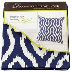 """Ivory & Blue 18"""" x 18"""" Ikat Pillow Cover"""