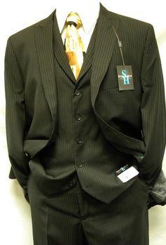Steve Harvey Suits 2 Button Black Stripe 3 Piece 1224