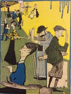 A Bruno Paul Litho Of The 1920'S German, Comment On Artists Of The Day
