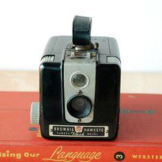 Vintage Camera Kodak Brownie Hawkeye Flash Model - Working Antique Camera