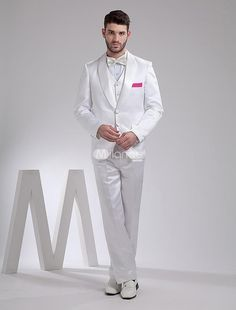 White Handsome Satin Groom Wedding Tuxedo. The top, pants and vest are included.. See More Groom Suits and Tuxedos at http://www.ourgreatshop.com/Groom-Suits-Tuxedos-C918.aspx
