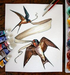 This is an original watercolour painting of two swallows, carrying a banner. Size: 8x10  This is an original watercolour painting