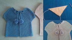 Üç İlmek ile Başlanan Örgü Şal Yelek Modeli   Kolay Hobiler Crochet Blanket Patterns, Baby Blanket Crochet, Crochet Baby, Diy And Crafts, Ruffle Blouse, Rompers, Knitting, Tops, Dresses