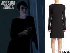 Vince Ribbed Knit-Sleeve Crepe Dress inspired by Jeri Hogarth in Jessica Jones | More at TheTake.com