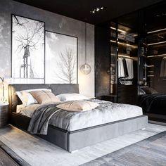 Design of a loft-style bedroom design Modern Luxury Bedroom, Luxury Bedroom Design, Bedroom Bed Design, Stylish Bedroom, Home Room Design, Contemporary Bedroom, Luxurious Bedrooms, Home Interior Design, Bedroom Designs