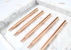 SkandiDesign Set Of Five Rose Gold Pens