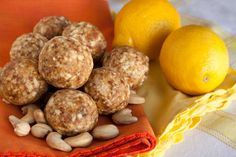 These fruit and nut balls make for a perfect [simple] sunny snack. The lemon adds detoxifying properties to help your body transition to a lighter, more cleansing diet, just in time for spring! Raw Vegan Desserts, Raw Vegan Recipes, Diet Recipes, Paleo Meals, Vegetarian Options, Healthy Recipes, Vegan Vegetarian, Dessert Recipes, Fruit Snacks