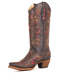 Women's Chocolate Floral Red Inlay Boots - A1951