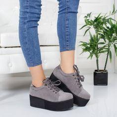Pantofi Murani gri cu platforma