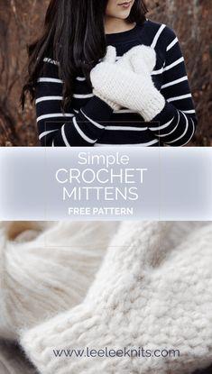 Fuzzy Warm Crochet Mittens - Leelee Knits Fuzzy Warm Crochet Mittens Learn the rudiments of how to n Crochet Mitts, Crochet Mittens Free Pattern, Crochet Gloves, Knit Mittens, Fingerless Mittens, Crochet Stitches, Free Crochet, Knitting Patterns, Crochet Hooks