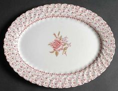 Sweeet Pink Rose Tiny Roses Cottage Chic Platter b Shabby Chic Crafts, Shabby Chic Pink, Shabby Chic Homes, Shabby Chic Decor, Rose Cottage, Cottage Chic, Cottage Style, Romantic Cottage, Cottage Design