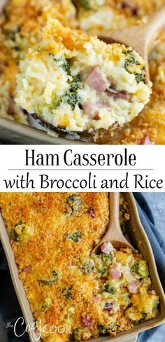 This Ham Casserole is loaded with cheesy creamy rice and perfectly cooked broccoli This easy make-ahead dinner can be prepared 2 days ahead or as a one pot meal ham casserole rice broccoli makeahead onepot Ham And Rice Casserole, Casserole Recipes, Broccoli Casserole, Leftover Ham Casserole, Easy Casserole Dishes, Skillet Recipes, Broccoli Recipes, Pork Recipes, Broccoli And Rice