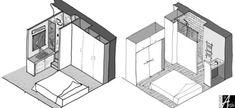 Mini salle d'eau dans une chambre   Studio d'archi Dispositions Chambre, Micro Apartment, Apartment Ideas, Interior Architecture, Interior Design, Home Trends, New Room, Home Bedroom, Home Projects