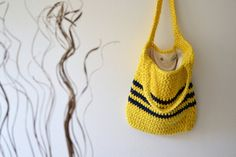 Summer Bag crochet bag Yellow Blue Tote for Beach and by Notforeat