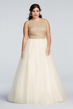 Beaded High Neck Prom Dress with Ball Gown Skirt 151P0181GW