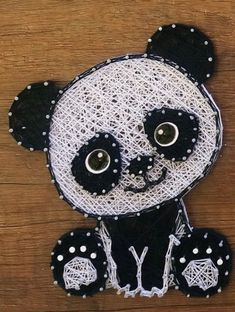String Wall Art, Nail String Art, String Crafts, Diy Crafts For Girls, Crafts To Do, Arts And Crafts, Panda Craft, String Art Patterns, Wire Art