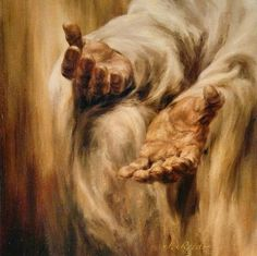 """""""His mercy endureth forever, and His hand is stretched out still. His is the pure love of Christ, the charity that never faileth, that compassion which endures even when all other strength disappears."""" —Jeffrey R. Holland (Painting by J. Reed) #LDS #Mormon"""