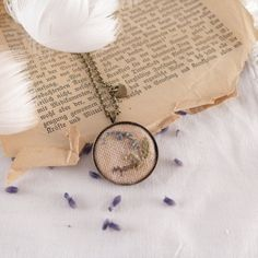 Necklace embroidered HERBS forget-me-not hand by atelierBrocante
